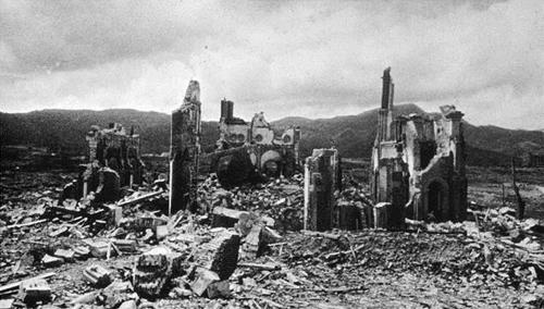 Ez maradt a katedrálisból az atombomba ledobása után